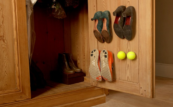 shoe hooks made from tennis balls and sugru