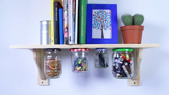 jars mounted to underside of shelf with sugru