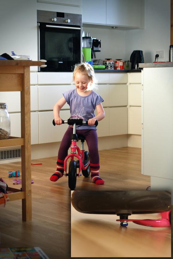 sugru protective bumper on child's bike
