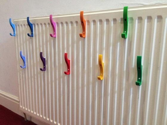 Hooks added to radiator with Sugru