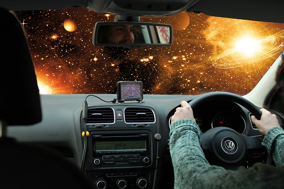 a car in outer space