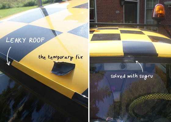a leaky car roof fixed with sugru