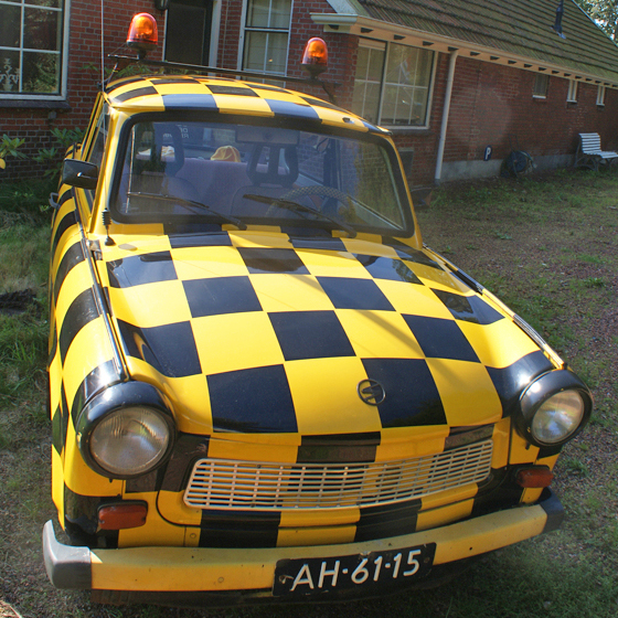 a chequered car