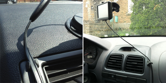 sugru grips for gps wires in car