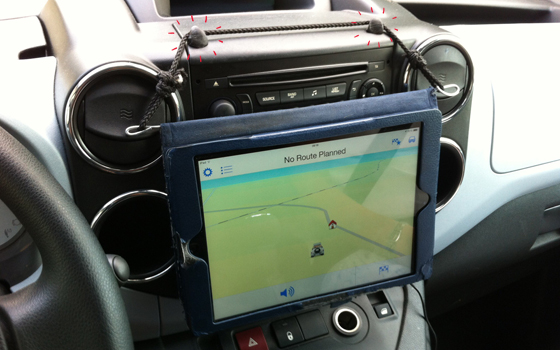 sugru hooks for tablet on dashboard