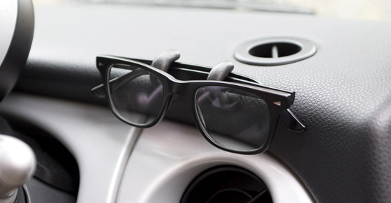 Glasses on Sugru hooks in car