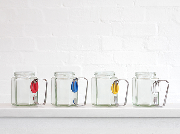 mugs made of jars, forks and Sugru